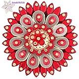 Ghasitaram Gifts Diwali Gifts Red Flower Floating Light Diya With 200 Gms Kaju Katli