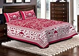 Jaipuri haat Cotton Double Bedsheet with 2 Pillow Covers- King Size, Multi Color