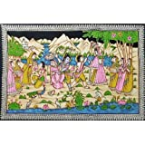 """Dolls Of India """"Natkhat Krishna Playing Truant With Gopinis"""" Painting On Cloth With Sequin Work - Unframed (167.64..."""