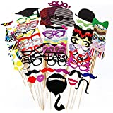 FitSand (TM) 75 PCS Photo Booth Props Glasses Moustache Red Lips Bow Ties Hats On Sticks For Party Favor Wedding Party Reunions Birthdays