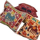 Ufc Mart Colorful Elephant Patchwork Cushion Cover Set, Color: Multi-Color, #Ufc00432