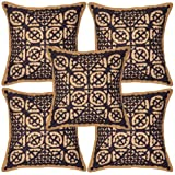 Patchwork Mirror Work Embroidery Cushion Cover 16 Inches Set 5 Pcs - B00K6CRMOY