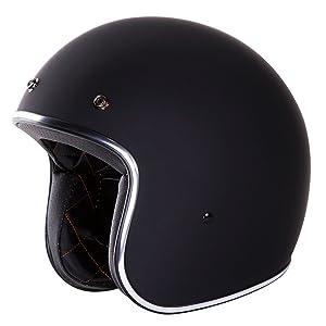 3/4 Retro Helmet [DOT]- Open Face, Matte/Flat Solid Black Helmet by IV2
