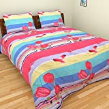 Axcellence Multi Color Floral Print Double Bed 3 D Bed Sheet With 2 Pillow Covers - Floral, King Size, Multi Color