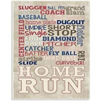 """The Kids Room By Stupell """"Red White And Blue Baseball Typography"""" Wall Plaque Art"""