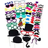 COOLOO Party Photo Booth Prop DIY Kit For Photography,Selfie On Graduation,Birthday,Wedding,Reunions,Durable Paper Classic Props:Mustache,Red Lips,Glasses,Haps,Bowties,Pipe,Crown,62 Pcs