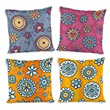 ShopMantra Decorative Flowers Pattern Printed Cushion Cover Set Of 4 16*16 Inch Multicolor Cushion Cover