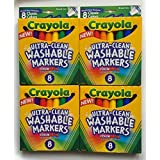 Crayola Broad Line Washable Markers Color Max ~ 8 Classic Colors ~ Set Of 4 Packs (32 Markers Total)