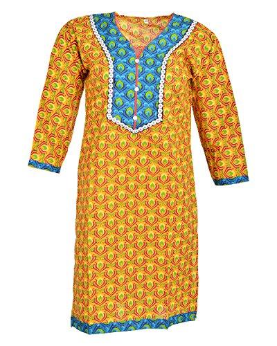 Global Women's Cotton Straight Kurta (GW01Yellow40, Yellow, 40)