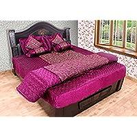 Rangsthali Gold Printed Satin Double Bed Bedding Wedding Set ( Set Of 8 Pcs) 1 Bedsheet:: 2 Pillow Cover:: 2 Filled... - B01KLZJB1M