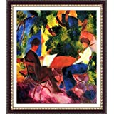 Couple At The Garden Table By Macke - ArtsNyou Printed Paintings - B00QA1DRLW