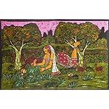 "Dolls Of India ""Shakuntala Writing Letter To King Dushyanta"" Batik Painting On Cotton Cloth - Unframed (177.80..."