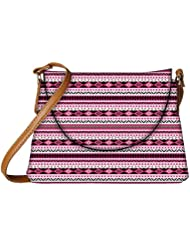 Snoogg Loud Aztec Pink And Black Womens Carry Around Sling Bags