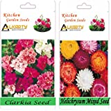 Alkarty Clarkia Mixed And Helichrysum Mixed Seeds Pack Of 20 (Winter)