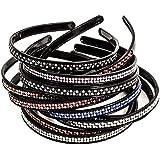 Narrow Hair Bands With Stones : Hard Headbands - Narrow Headband - Rhinestone Headband - 12 Pack Girls Hairbands...