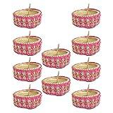 Kriti Creations Set Of 10 Traditional Wax Filled Clay Diyas - B016S20Y18