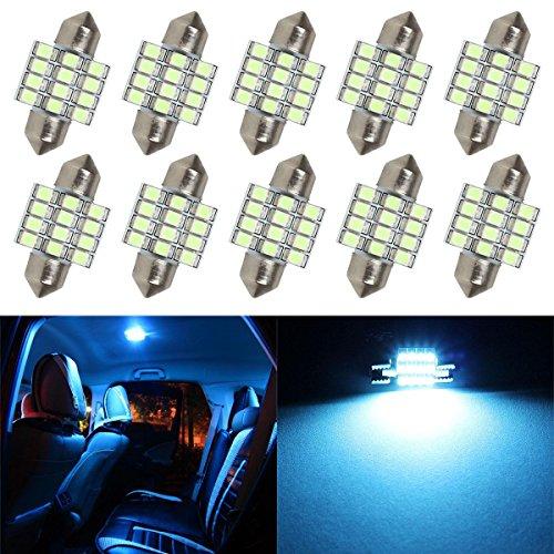 Partsam Ice Blue 31mm Festoon 12-3528-SMD LED Lights Interior Dome Map Lamp Bulbs DE3175 DE3021 DE3022 (10 Pieces)