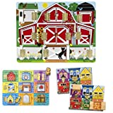 Melissa & Doug Magnetic Farm Hide And Seek, Latches Board, And Magnetic Hide And Seek Board Bundle