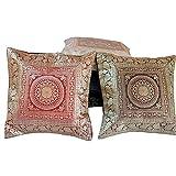 Ufc Mart Brocade Work Multi -Color Cushion Cover Set, Color: Multi-Color, #Ufc00421