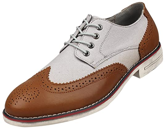 1920s Style Mens Shoes Kunsto Cavas Leather                                              Kunsto Mens Leather Canvas Distressed Two Tone Oxford $54.90 AT vintagedancer.com