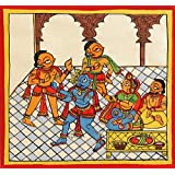 "Dolls Of India ""Lord Krishna And Gopis With Yashoda And Nandaraja"" Phad Painting On Cloth - Unframed (13.97 X..."