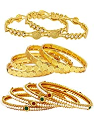 Jewels Galaxy Combo Of Designer Victoria Bangles, Pearls Bangles And Coinage Bangles - Pack Of 10