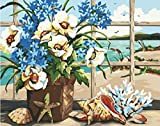 PaintingStudio Beautiful Flower in vase Still Life DIY Painting by number kits 16X20 inch Paint Works picture (Framed)