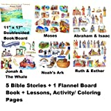 5 Bible Stories Felt Figures Precut + Flannel Board + Stories/Activity Pages Abraham Isaac Noahs Ark, Ruth Esther...