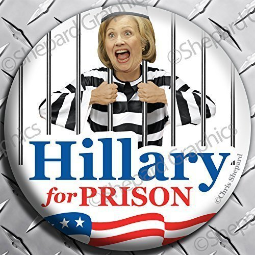 Trump and Clinton Halloween Costumes - Choose Edgy or Funny - 6-PACK! HILLARY FOR PRISON! Anti CLinton BUTTON PIN Badge 2.25
