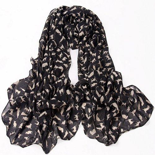 SODIAL(TM) Fashion Ladies Scarf Shawls Cat Print Scraves 100% Chiffon Wrap - Black