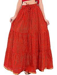 Decot Paradise Women's Cotton Regular Fit Skirt (Red)