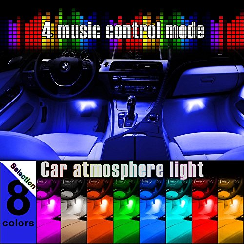 Thunder® 4-Piece Multi-Color 8 Color LED Interior Underdash Lighting Kit – Interior Atmosphere Neon Lights Strip for Car With Sound Active Function, Wireless IR Remote Control and Charger