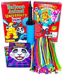 Balloon Animal University SUPERSIZED Kit. 100 Balloons NEW Custom Colors Assortment with Qualatex balloons, Jumbo Sized PRO Double-Action Air Pump, and NEW Online Video Training Series Access. Learn to Make Balloon Animals Starter Kit.
