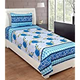 ZAIN BLUE WHITE FLORAL COTTON SINGLE BED SHEET WITH ONE PILLOW COVER