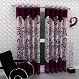 Home Pictures (Set Of 2) Purple Eyelet Panel Polyester Curtains Long Door - 4 X 9 Feet