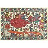 "Dolls Of India ""Anantashayan Of Vishnu"" Madhubani Folk Art On Paper - Unframed (55.88 X 38.10 Centimeters)"