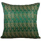 Svisti Raw Silk Single Piece Cushion Cover-Green, 40.64 Cm X 40.64 Cm - B00N3NZ0UG