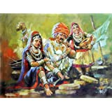 "Dolls Of India ""Banjara Snake Charmer Family From Rajasthan"" Reprint On Paper - Unframed (40.64 X 30.48 Centimeters..."