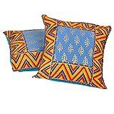 Ufc Mart Sanganeri Gold Print Cotton Cushion Cover Pair, Color: Multi-Color, #Ufc00506