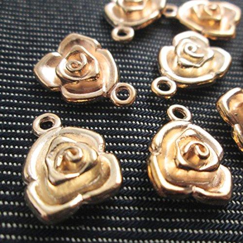 6 Pcs 3D Gold Tone Rose Charms, Flower Charms, Shiny Tibetan Gold Tone (NS332)