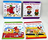 Set of Four Richard Scarry Board Books Smokey's Fire Engine, Spotty's School Bus, I Know My Colors and I Know My Opposites