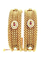 Aria Traditional Pearl Gold Plated 2pc Screw Bangles For Women