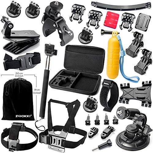 Zookki Accessoires Trousse pour GoPro Hero Black Silver 5 4 3+ 3 2 1, SJ4000 SJ5000 SJ6000, et pour Lightdow/Xiaomi Yi/WiMiUS/DBPOWER/Campark d'action...