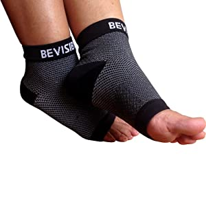 BeVisible Sports Plantar Fasciitis Foot Compression Sleeves width=