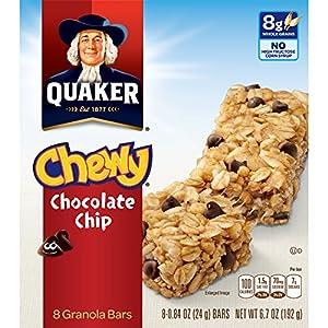 Quaker Chewy Granola Bars, Chocolate Chip, 8 Bars Per Box (Pack of 6)