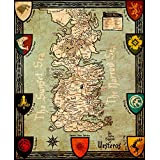 Art From Game Of Thrones - Seven Kingdoms Of Westeros Map - Game Of Thrones Collection - Small Size Premium Quality Unframed Wall Art Print On Canvas (10 Inches X 12 Inches) For Home And Office Interior Decoration By Tallenge