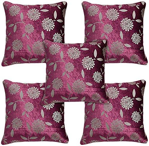 Idrape Velvet 5 Piece Cushion Cover Set- Purple, 40 Cm X 40 Cm