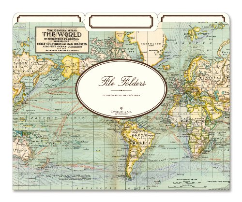 Cavallini World Map File Folders
