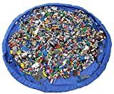 IPUK - Easy Tidy Play & Storage mat - Quickly swoops into a shoulder bag - Ideal for Lego, Duplo & other children's toys for faster cleanup! Atlantic Blue (Large- 150CM)