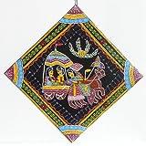 DollsofIndia Radha Krishna On A Chariot - Wall Hanging - Madhubani Folk Art On Hardboard